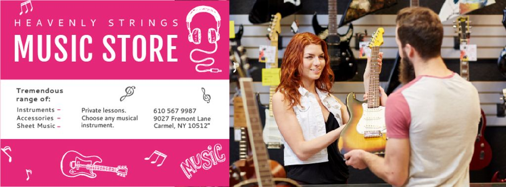 Music Store with Woman showing Guitar — Создать дизайн