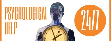 Modèle de visuel Double exposure of man silhouette and clock - Facebook Video cover