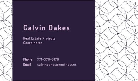 Designvorlage Real Estate Coordinator Ad with Geometric Pattern in Purple für Business card