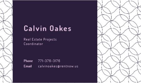 Ontwerpsjabloon van Business card van Real Estate Coordinator Ad with Geometric Pattern in Purple