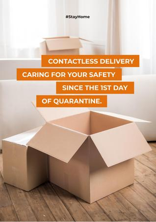 Ontwerpsjabloon van Poster van Contactless Delivery Services offer with boxes