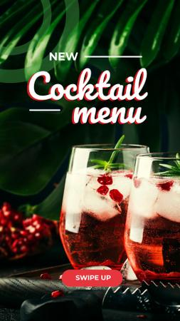 New Coctail Menu Ad with Garnet Drinks Instagram Story – шаблон для дизайну