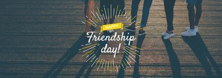 Friendship Day greeting Young People Together Tumblr Design Template