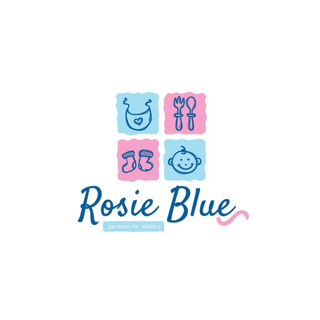 Kids' Products Ad in Blue and Pink — Maak een ontwerp