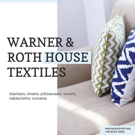 Ontwerpsjabloon van Instagram van House Textiles Offer with Bright Pillows