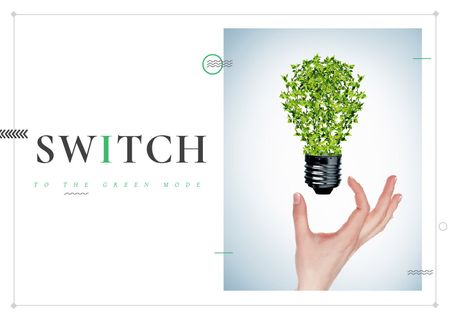 Eco Concept with Green Lightbulb Card Modelo de Design