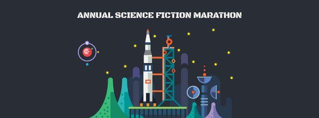 Plantilla de diseño de Rocket Launching in Spaceport Facebook Video cover
