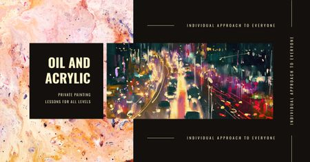 Plantilla de diseño de Night city traffic lights Facebook AD