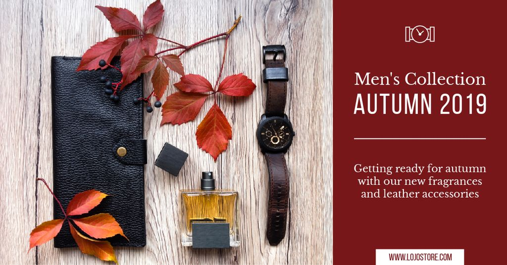Autumnal Men's Collection Ad Leather Wallet | Facebook AD Template — Modelo de projeto