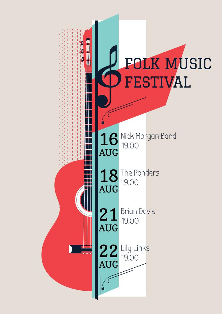 Music Poster with Acoustic Guitar and Geometrical Elements — Crea un design