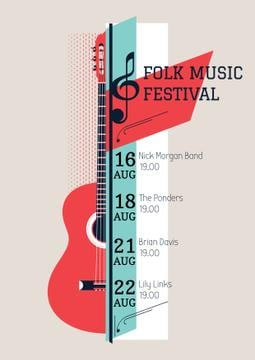 Music Festival Announcement Acoustic Guitar | Poster Template