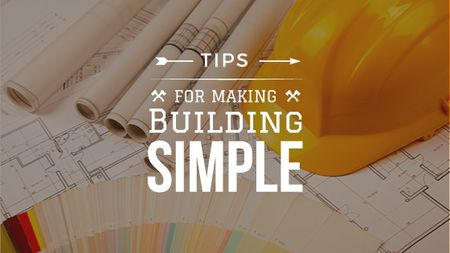Plantilla de diseño de Building Tips blueprints on table Title