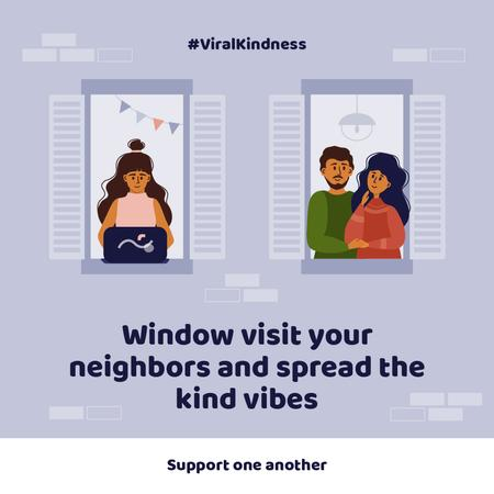 #ViralKindness with friendly Neighbors staying at home Instagram Modelo de Design