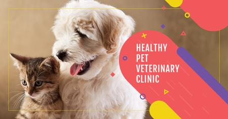Szablon projektu Veterinary clinic Ad with Cute Pets Facebook AD