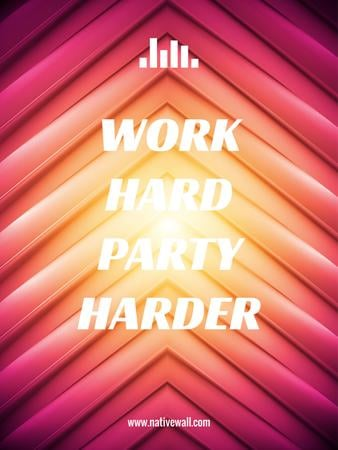 Hard Work quote on red and yellow stripes Poster USデザインテンプレート