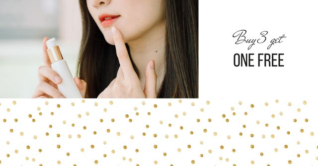 Cosmetics Sale with Woman applying cream Facebook AD Design Template
