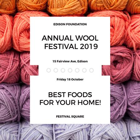 Knitting Festival Wool Yarn Skeins Instagram ADデザインテンプレート