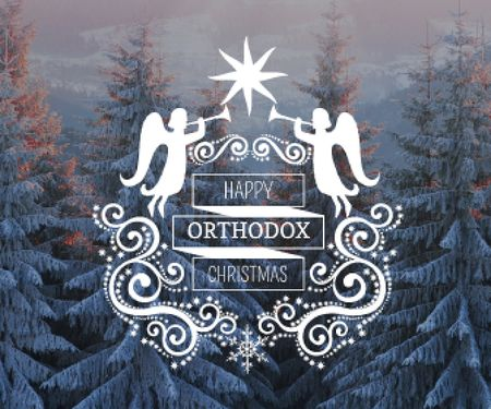 Template di design Christmas Greeting Winter Forest and Angels Large Rectangle