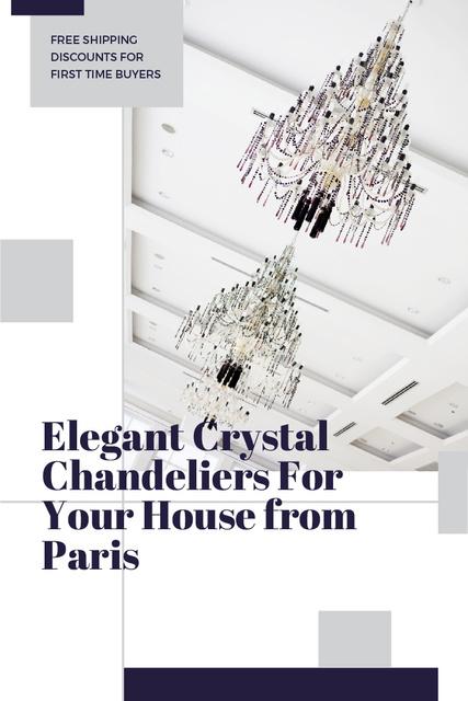 Elegant Crystal Chandeliers Offer in White Pinterestデザインテンプレート