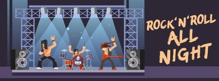 Ontwerpsjabloon van Facebook Video cover van Rock Concert Invitation Band on Stage