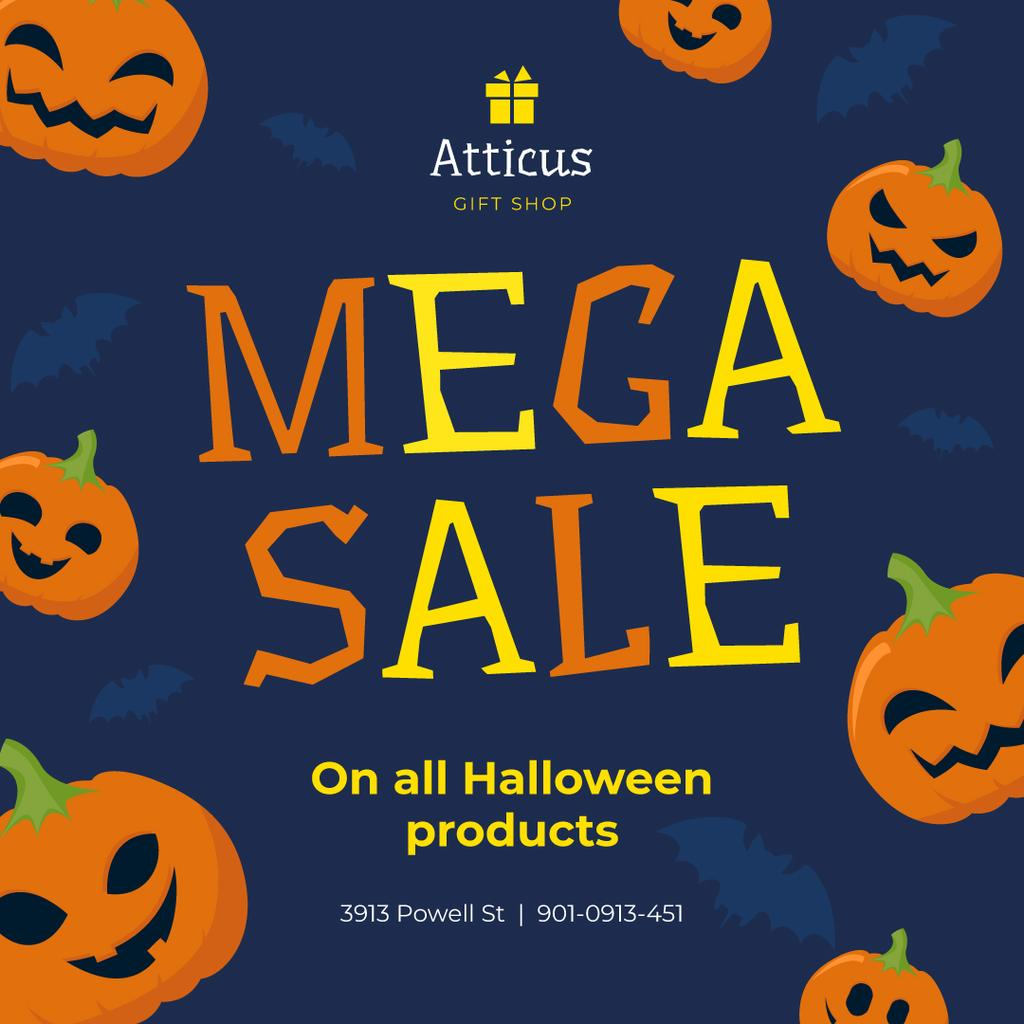 Halloween Sale Scary Pumpkins on Blue | Instagram Post Template — Create a Design