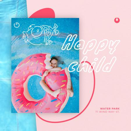 Plantilla de diseño de Girl swimming in pool Animated Post