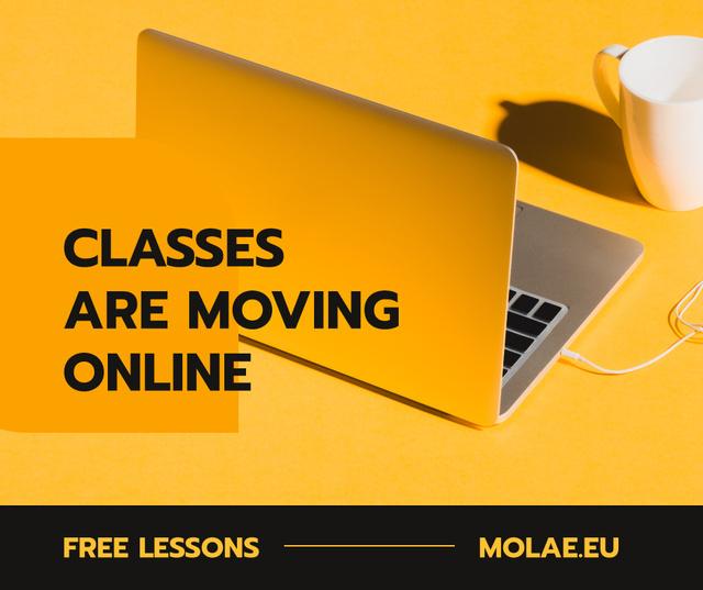 Online Education Platform with Laptop for Quarantine Facebook Modelo de Design