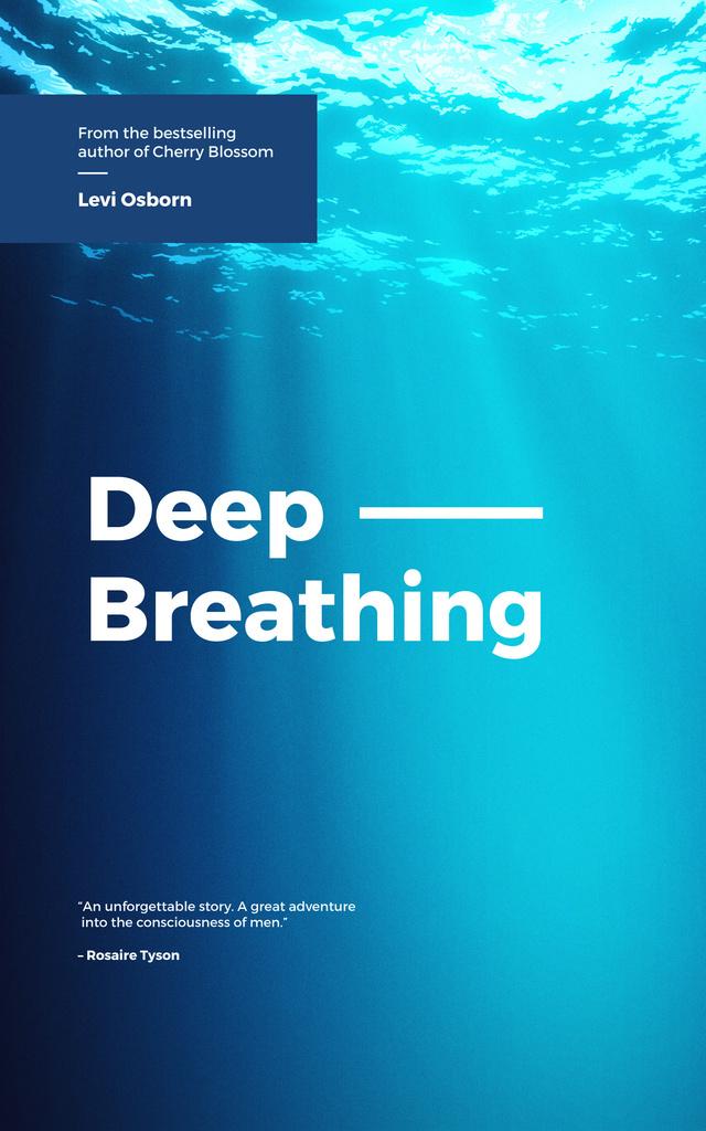 Deep Breathing Concept Blue Water Surface Book Cover Tasarım Şablonu