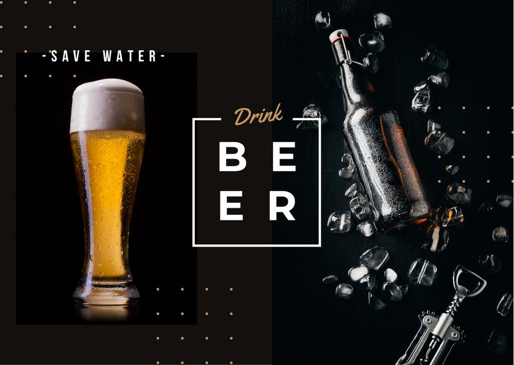 Template di design Fresh beer in glass Postcard