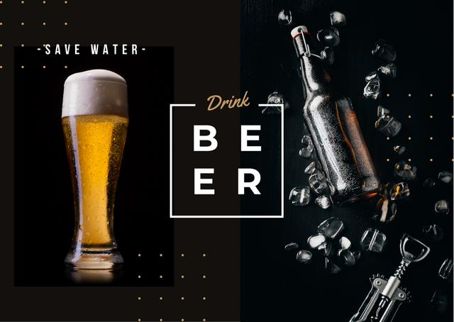 Fresh beer in glass Postcard Modelo de Design