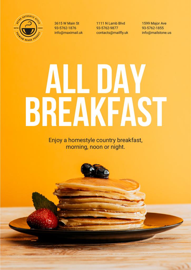 Breakfast Offer Sweet Pancakes in Orange — Create a Design