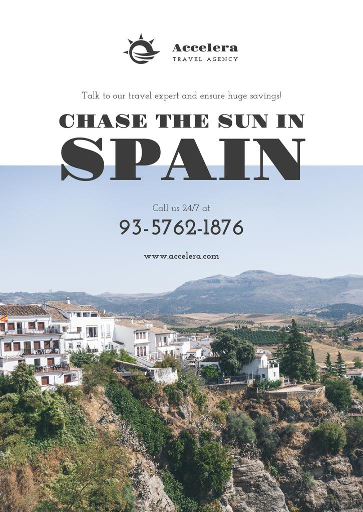 Travel Offer to Spain with mountains landscape — Modelo de projeto