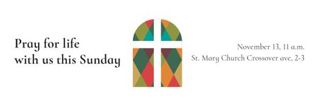Invitation to Pray with Church windows Email header Design Template