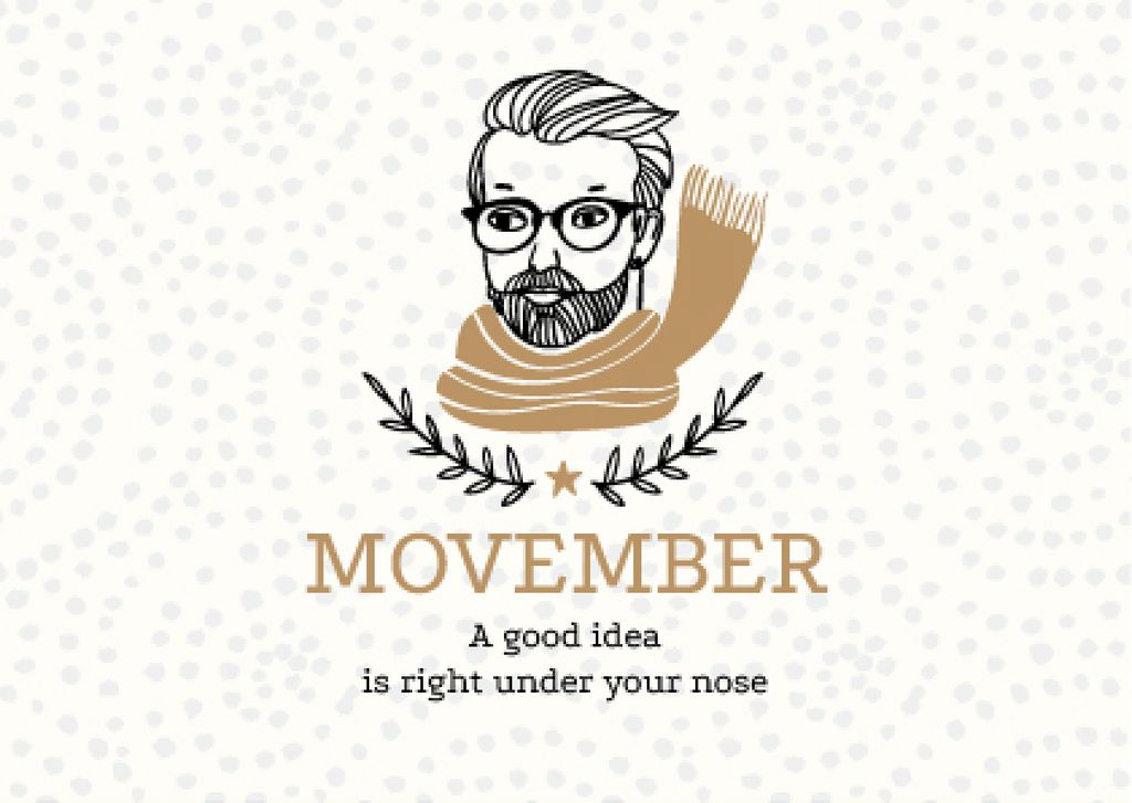 Movember Announcement with Man with moustache and beard in Scarf — ein Design erstellen