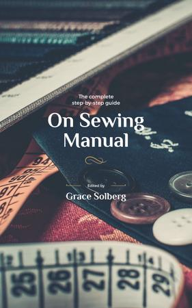 Ontwerpsjabloon van Book Cover van Sewing tools and threads