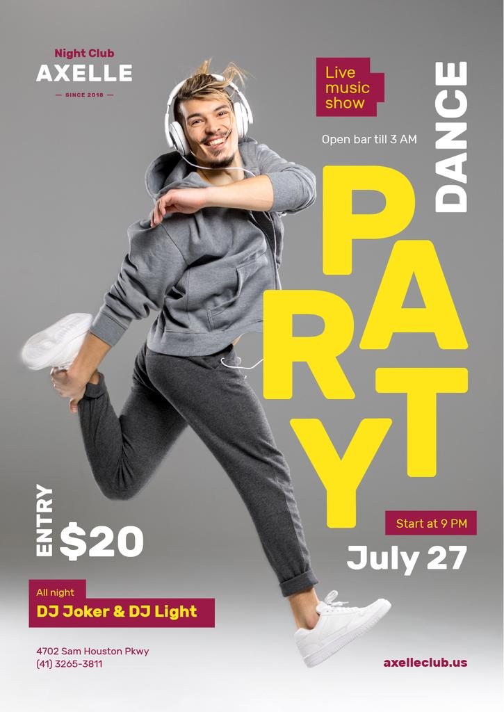 Party Invitation with Man in Headphones Jumping in Grey — ein Design erstellen