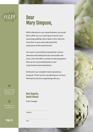 Catering Services with green artichokes Letterhead Modelo de Design