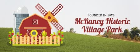 Farm Barn and Windmill Facebook Video cover Modelo de Design