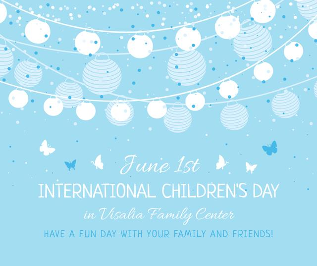 Party garland with balloons for Children's Day Facebookデザインテンプレート