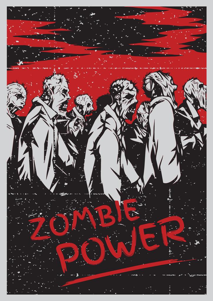 Zombie power scary illustration Poster Modelo de Design