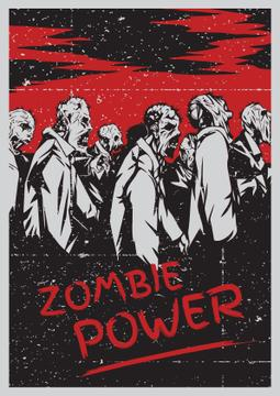 Zombie power scary illustration