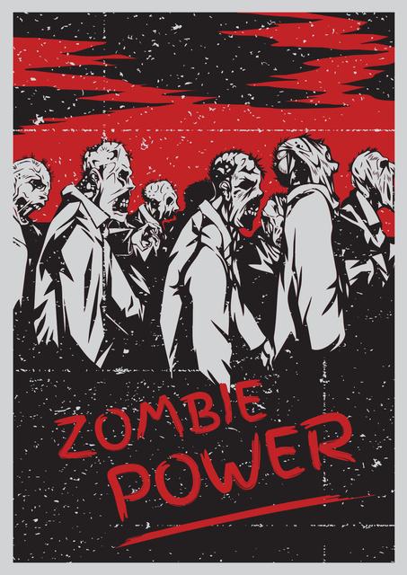 Zombie power scary illustration Poster Tasarım Şablonu