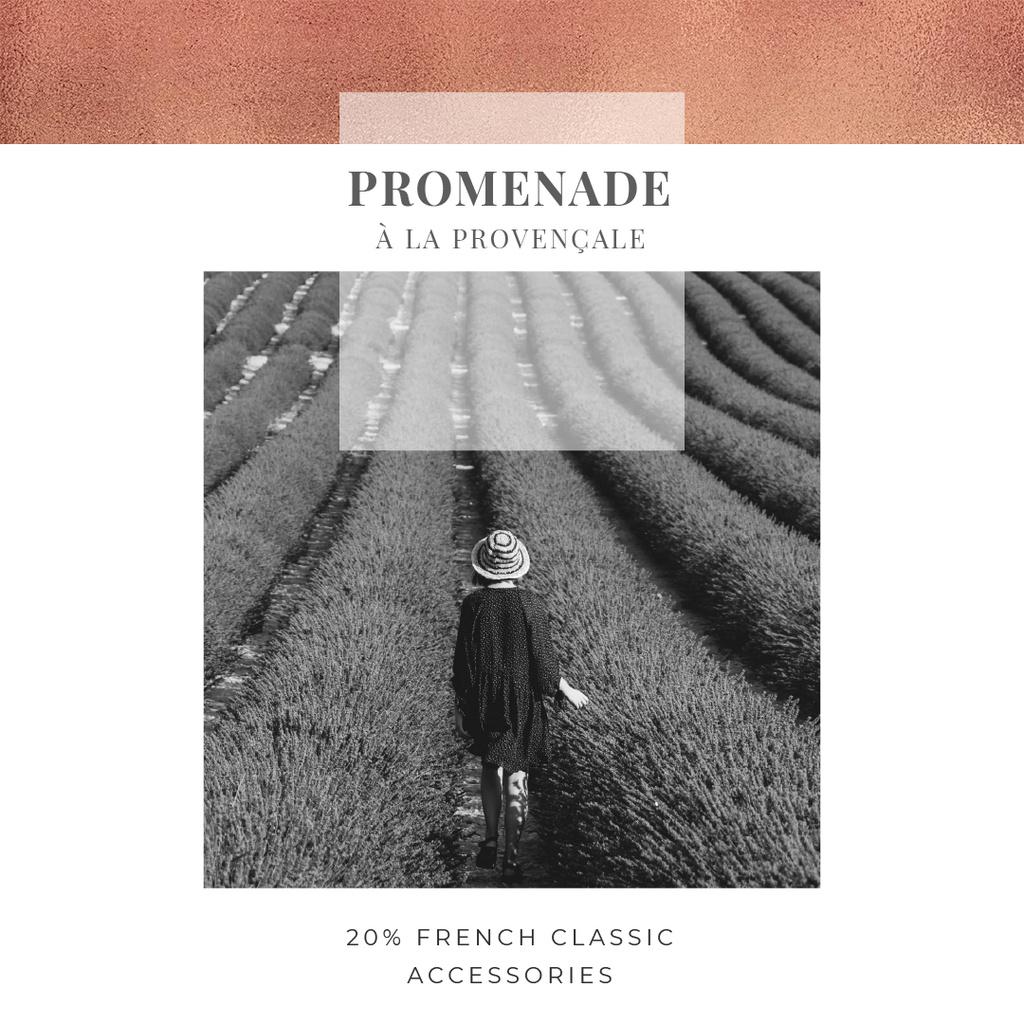 Designvorlage French accessories Offer with Woman in lavender field für Instagram