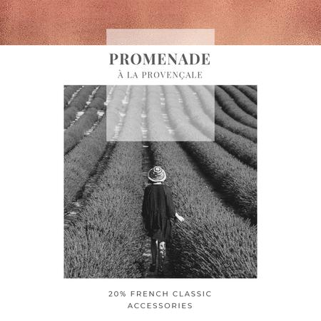 Modèle de visuel French accessories Offer with Woman in lavender field - Instagram