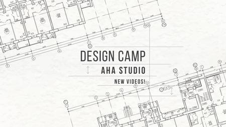 Design Camp Studio Ad with blueprints Youtube Modelo de Design