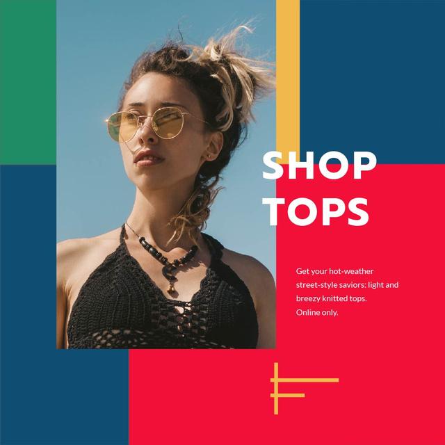 Fashion Tops sale ad with Girl in sunglasses Animated Post Modelo de Design