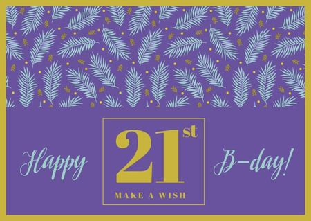 Birthday Greeting with Leaves in Purple Card – шаблон для дизайну