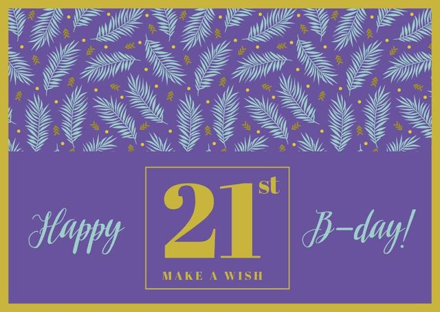 Birthday Greeting with Leaves in Purple Card Design Template