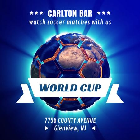 World Cup Ad Spinning Earth in shape of soccer ball Animated Post Modelo de Design