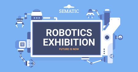 Robotics exhibition announcement Facebook AD – шаблон для дизайна